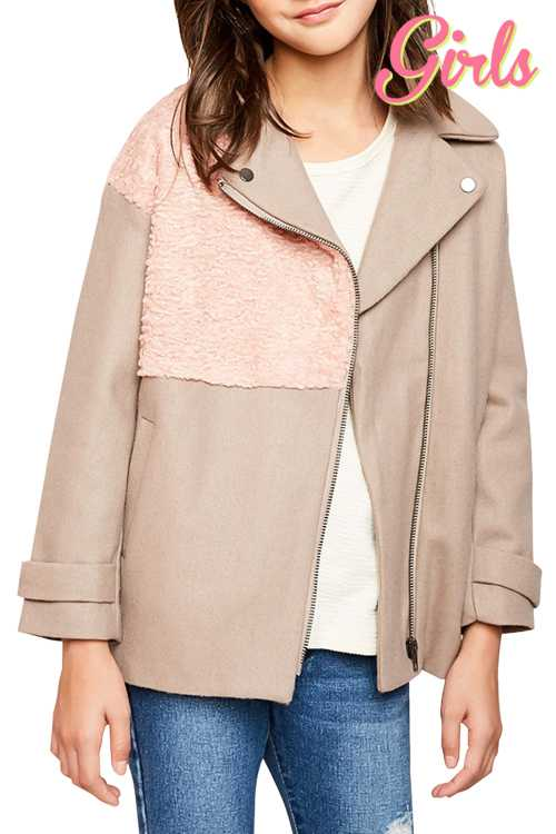 Motto Style Jacket With Fur Detail GIRLS