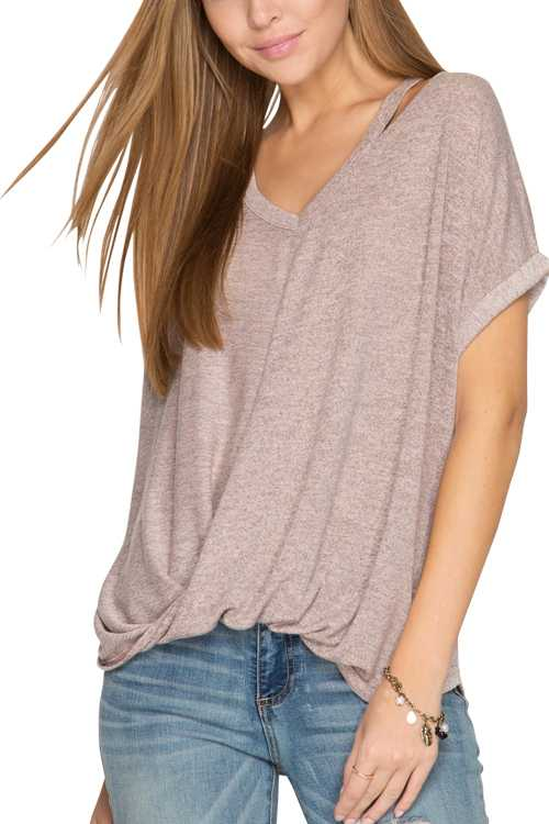 Short Sleeve Surplice Top With Neck Cut-out Detail