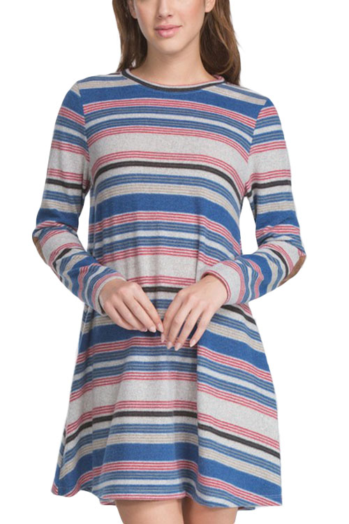 Multi Stripe Loose Fit Dress With Patched Elbows
