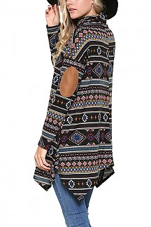Turtle Neck Elbow Patch Aztec Print Shark Bite Hem Knit Top