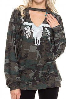 Camouflage Print Cutout Front Sweatshirt