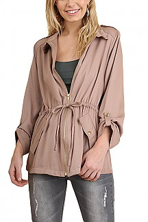 Zipper Front Jacket With Waist-tie
