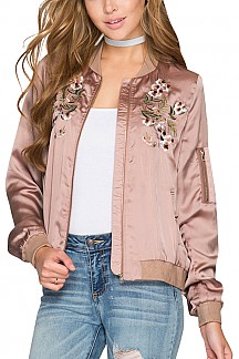 Satin Bomber Jacket With Floral Embroidery Detail