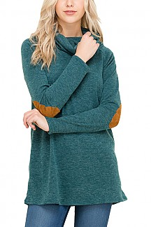 Solid Sweater With Elbow Patch Detail