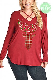 Plaid Reindeer Christmas Graphic Top PLUS