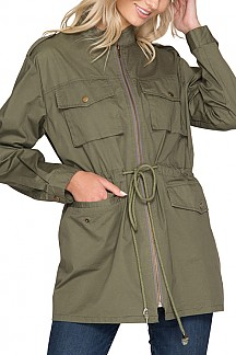 Long Sleeve Military Jacket With Drawstring Waist