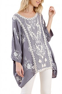 Floral Embroidered Dolman Sleeve Top With Front Lace Detail
