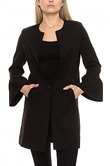 Solid Long Body Jacket With Bell Sleeves