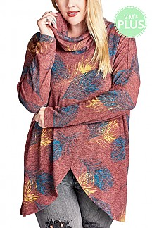Feather Print Knit Loose Top With Long Sleeves PLUS