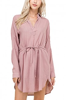 Solid Dolman Sleeve Shirt Dress With Waist Tunnel-tie Detail