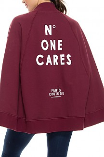 NO ONE CARES Printed Sweatshirt Detail Cape