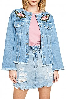 Floral Embroidered Raw Edge Denim Jacket