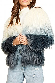 Color-Block Long Sleeve Faux Fur Jacket