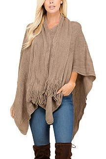 Attached Scarf Detailed Poncho