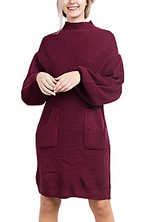 Mock Neck Knit Sweater Dress With Bubble Sleeves