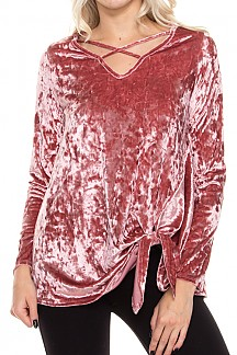 Crushed Velvet Crisscross Front Top With Side Tie Detail