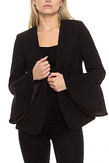 Solid Bell Sleeves Blazer