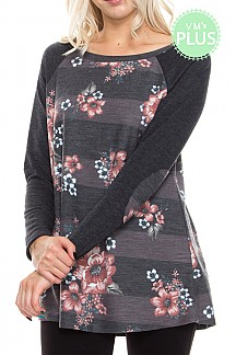 Stripe Floral Print Mix With Elbow Patches Knit Top PLUS