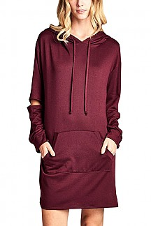 Hooded Drawstring Elbow Cut Out Kangaroo Pocket French Terry Dre
