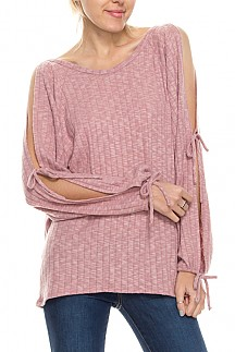 Brushed Ribbed Knit Top With Slit Tie Sleeve Detail
