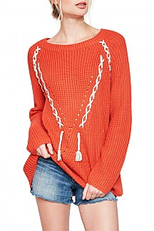 Long Sleeve Lace-up Detail Knit Sweater