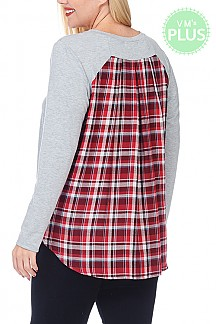 Plaid Print Back Contrast Solid French Terry Top PLUS