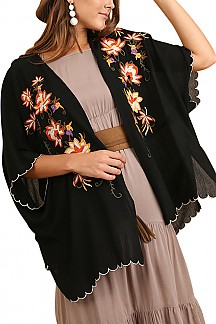 Open-front Floral Embroidered Kimono