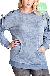 Mineral Washed Long Sleeve Knit Top With Lace up Shoulders Detai