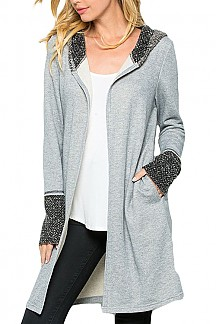 Solid Long Sleeve Contrast Cuffs And Hoodie Jacket