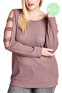 Round Neck Cut-Out Sleeves Waffle Knit Loose Fit Top PLUS