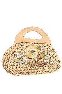 ROUND LINK WOOD ACCENT TOP HANDLE BAG