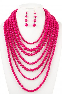 MULTI LOW LAYERED BEAD STATEMENT NECKLACE SET