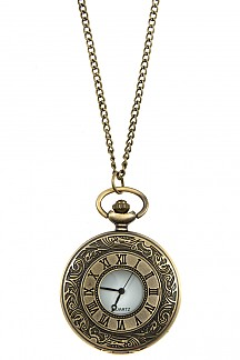 ROMAN NUMERAL ETCHED LOCKET PENDANT NECKLACE