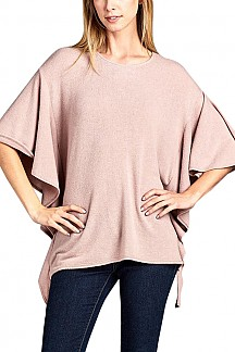 Solid Knit Dolman Half Sleeve Sweater Top