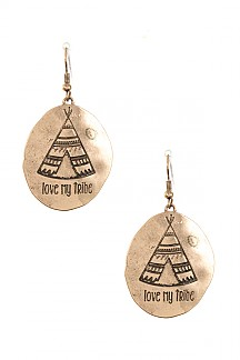 TRIBAL TIPI ETCHED DANGLE EARRING