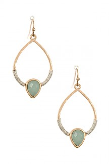 FACETED PAVE STONE DANGLE EARRING