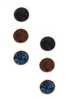FAUX ROUND DRUZY STONE POST EARRING SET