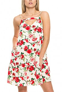Front Strap Detail Floral Print Sleeveless Dress