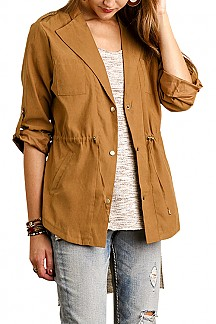 Cargo Blazer Jacket With Drawstring Waist Detail