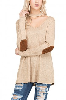 Neck Strap Long Sleeve Elbow Patch Sweater Top