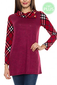 Plaid Sleeves And Neck Detail Marled Tunic Knit Top PLUS