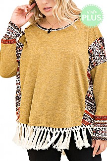 Tribal Print Detail Solid Sweater Top With Fringe PLUS