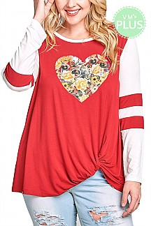 Floral Heart LOVE Print Top With Long Sleeves PLUS