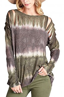 Boat Neck Tie Dye Knit Top Long Sleeve Laser Cut Detail