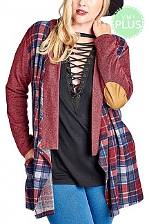 Plaid Print Hacci Knit  Cardigan PLUS