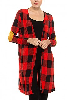 Checkered Elbow Patch Open Cardigan