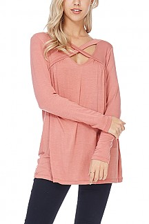 Long Sleeve Crisscross Neck Straps Tunic Top