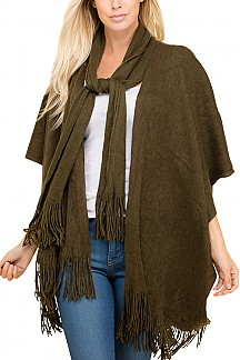 Open Front Fringed Hem Poncho With Attached Scarf