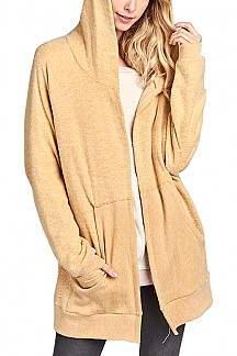 Oversized Hoodie Cardigan With Front Pocket
