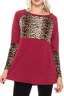 Leopard Print Contrast Knit Tunic Top